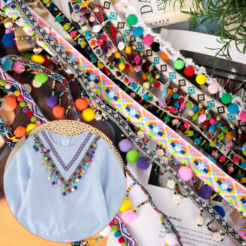 Pompom Fabric Sewing DIY Craft Bohemia Tassel Lace Trim Embroidered Ribbon