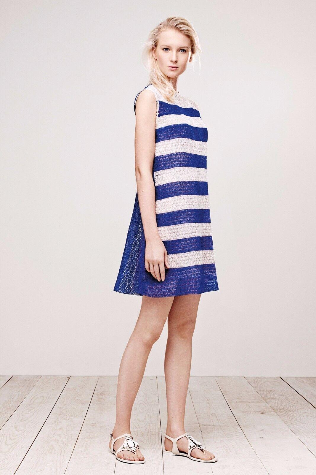 NWT TADASHI SHOJI Blau Weiß Striped Micro Floral LACE Tunic Sheath Dress 12