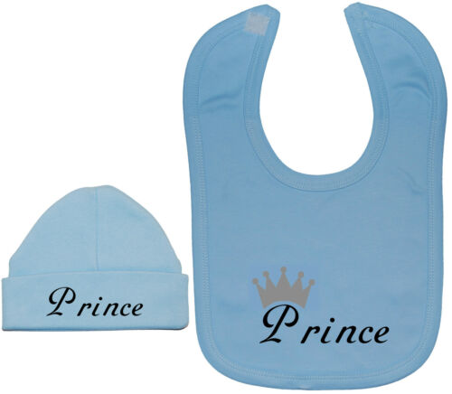 Prince...Baby Feeding Bib /& Beanie Hat//Cap Set NB-12M Boy Girl Funny Gift
