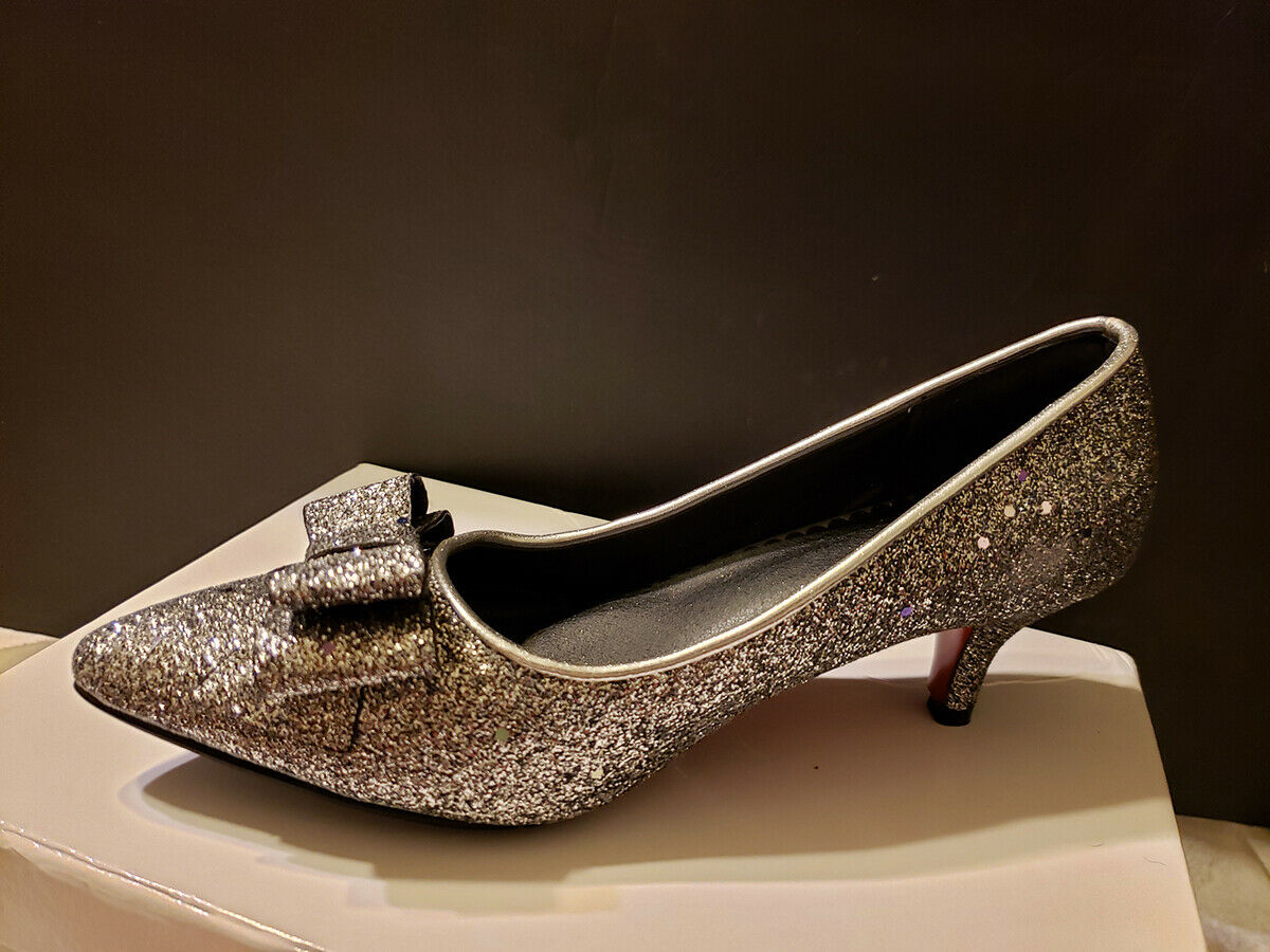 Kitten Heel Pumps Sequined Dress Shoes Pointed Toe Bow Slip On Pumps NEW US 8.5