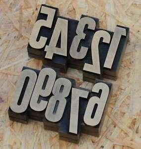 0-9 Zahlen 45 mm Plakatlettern letterpress Letter Ziffern Stempel Zahl numbers