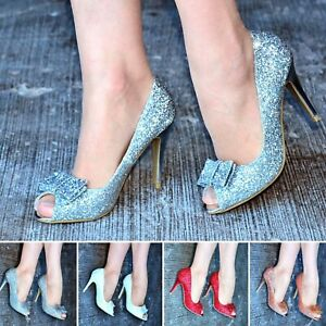 Ladies-High-Heels-Sparkly-Glitter-Party-Peep-Toes-Bridal-Bridesmaid-Prom-Shoes