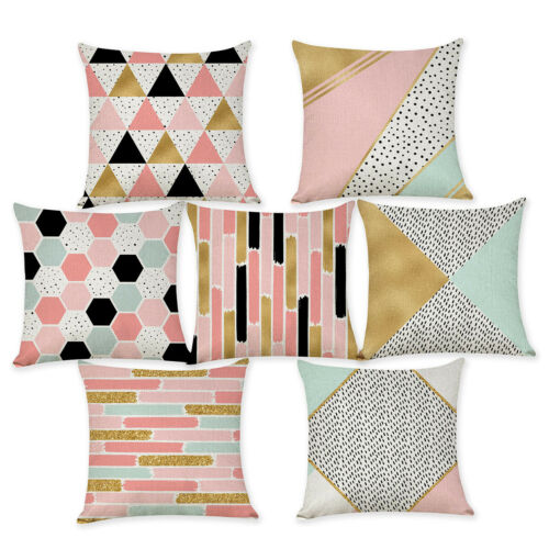 "18/"" Golden Cojines Pink Geometric Nordic Cushion Cover Striped Throw Pillow Case"