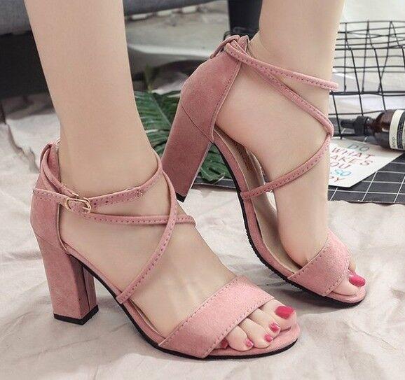 Sabot chaussons 7 cm élégant rose talon carré sandales comme cuir 9959