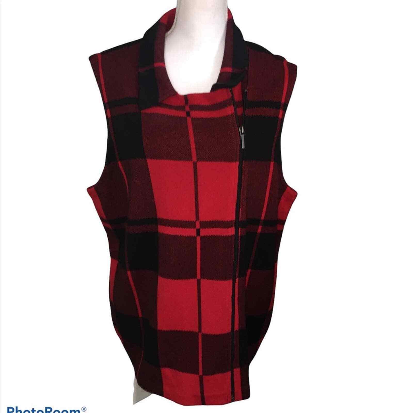 Chaps Buffalo Plaid Vest Knit Red Black Sz 2XL