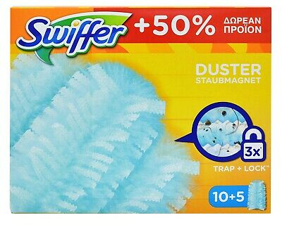 SWIFFER DUSTERS REFILL DISPOSABLE 15pcs TRAP /& LOCK DUST CLEANING MULTI SURFACES