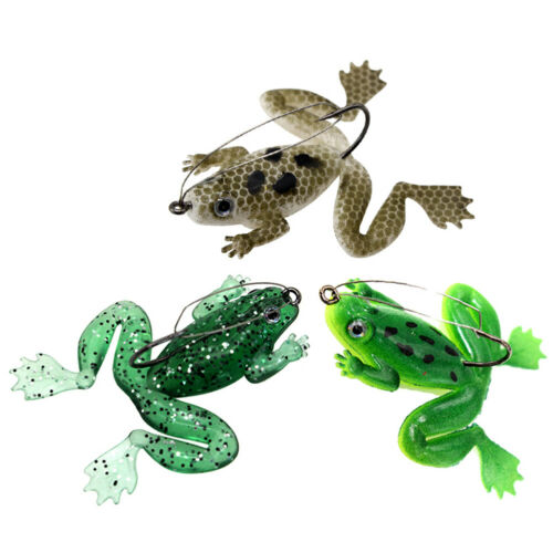 FM/_ AM/_ KF/_ 3Pcs 6cm Mini Fishing Artificial Lifelike Lure Wobbler Water Frog Sw