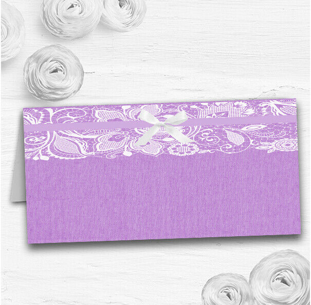 Vintage Lilac lila Burlap & Lace Wedding Table Seating Name Place Cards