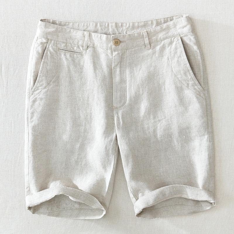 Pantalones cortos para hombres 100% Lino Suave Suelto Recto Pantalones Cortos Pantalones Botón De Playa Corto