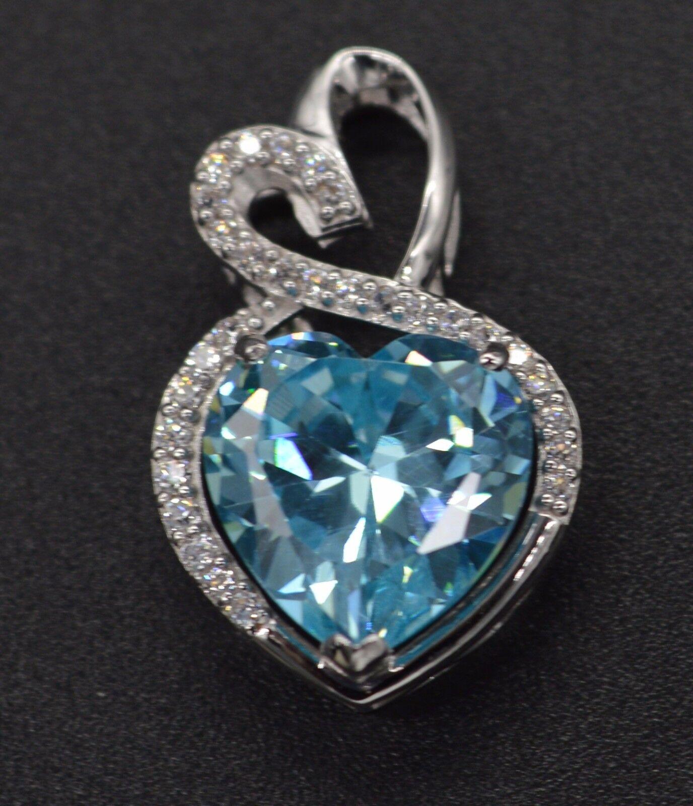 PM22 3.00ct Created Diamond bluee Heart Cut Pendant 14k Soild White gold