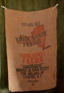 Vintage-Advertising-Burlap-Bag-York-State-Feeds-Candor-NY-Ward-amp-Van-Scoy-Empty