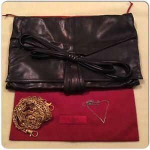 vías cadena Correa de negro de de dos Garavani dorada vintage Valentino cuero de rqXwOTHq5n