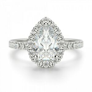 1.40 Ct Pear Cut Moissanite Engagement Ring 14K Bridal Solid White Gold Size 5