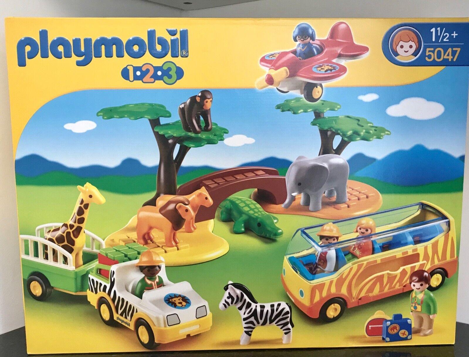 PLAYMOBIL 5047 Safari Zoo 123 Play Set Animals People Jeep Bus Aeroplane