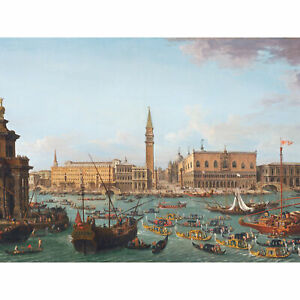 Joli-Gondola-Boats-Procession-Venice-Painting-XL-Canvas-Art-Print