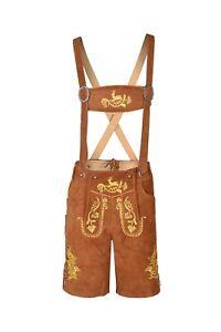 Bavarian-Lederhosen-Oktoberfest-German-Real-Leather-Brown-with-Matching-Shorts