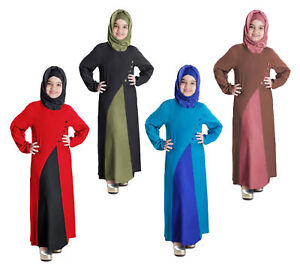 ae9d1064e21c5 Details about Kids Dress Muslim Traditional Child Abaya Kaftan Islamic  Girls Long Sleeve Robes