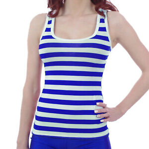 BLUE-WHITE-STRIPES-STRIPED-RACER-BACK-VEST-TOP-FANCY-DRESS-TUTU-ALTERNATIVE