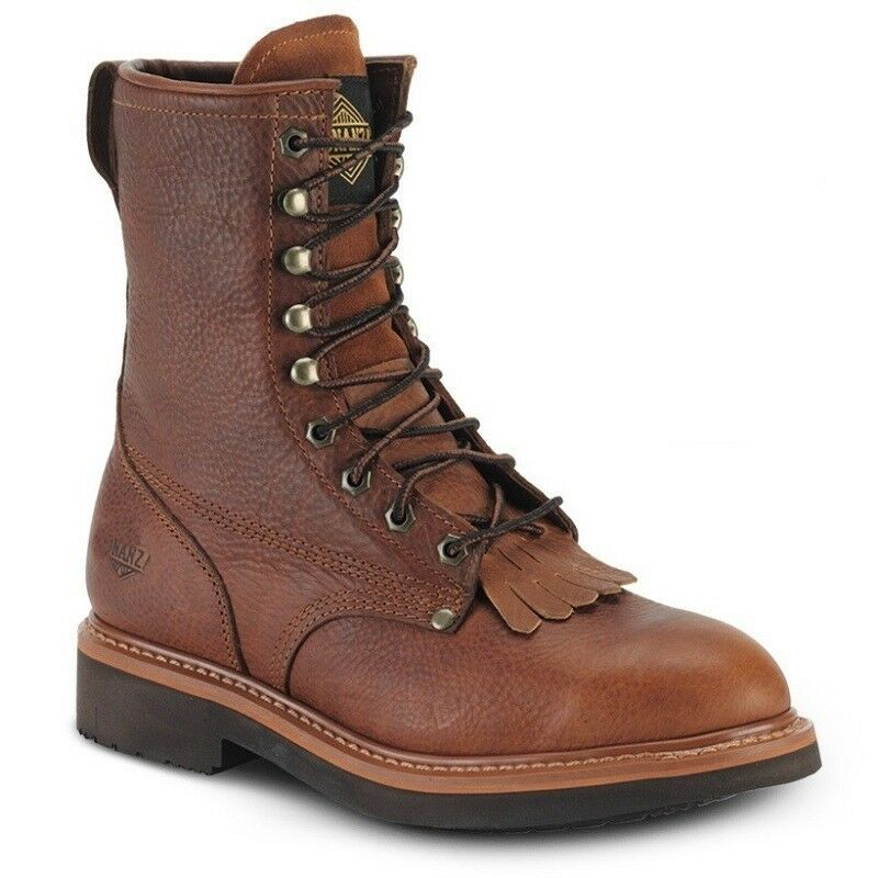 Mens Light marrón 8  Kiltie Lacer Leather Work botas BONANZA 817 Talla 5-13 (D, M)