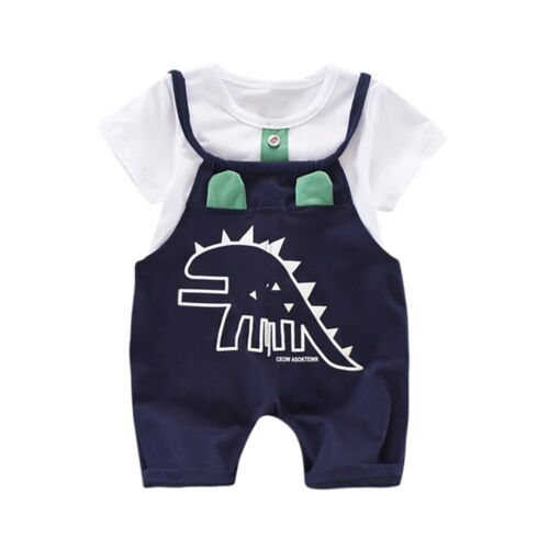 Fashion Infant Baby Dinosaur Print T-shirt Tops+Strap Pant Outfit Clothes Lovely