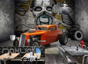 3D Graffiti Retro Car wheel Garage Art Wall Murals Wallpaper Decals