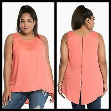 NWT Torrid Plus Size 1 1X Coral Embroidered Mesh Inset Open Back Tank Top (DD3)