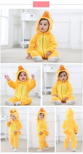 baby unisex animal flannel costume romper pyjamas jumpsuits 6-24mths *UK SELLER*