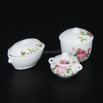 3pc Floral Casserole Pot Bowl Lid Set for 12th Dolls House Kitchen Miniature