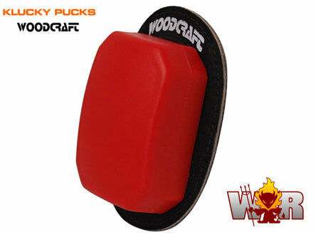 Red Pair Klucky Double Thick Endurance//Rain Pucks Knee Sliders by Woodcraft