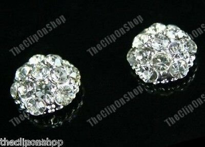 CLIP ON magnetic CRYSTAL rhinestone DOME stud EARRINGS diamante no-pierced studs
