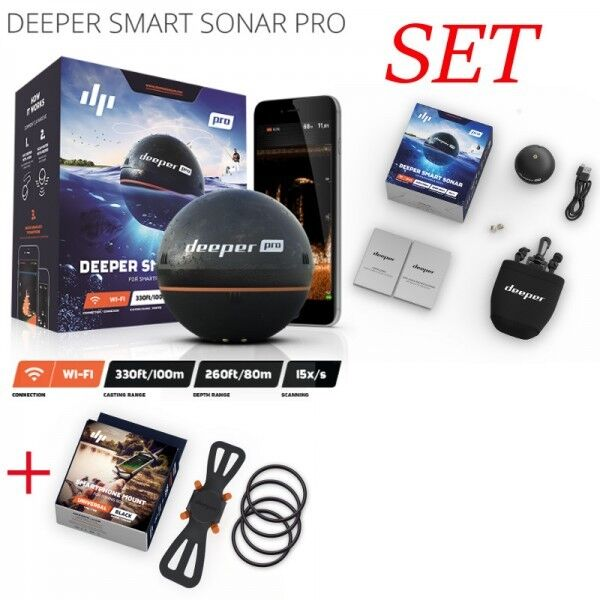Deeper Pro Set + Smartphone Halterung Echolot Fischfinder Wurfecholot mit Wifi