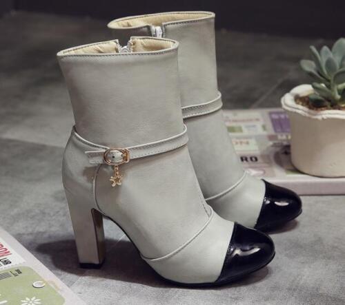 Mujer Piel Cómodo 9408 9 Zapatos Cm De Gris Como Botas Negro Tacón Hxt4nq