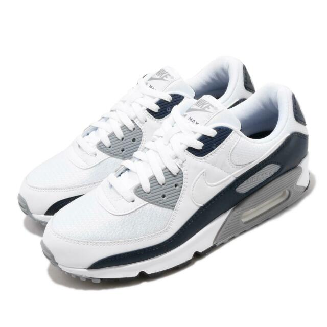 Nike Air Max 90 NSW White Grey Navy Men Lifestyle Shoes Sneakers CT4352-100