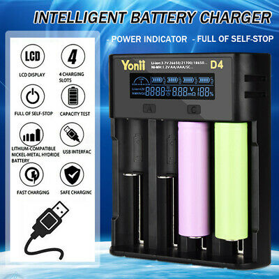 Intelligent Smart AA Battery Charger NiMh Rechargeable 4 Slots Indicator Light
