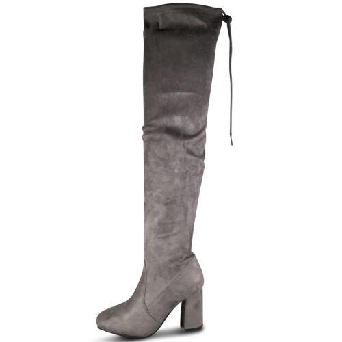 Damen Overknee Stiefel High Heels Stiefeletten Boots Gogo Overkneestiefel ST599