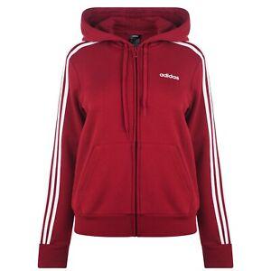Détails sur Adidas pour femme Essential 3 Stripe Full Zip Hoody Rouge Taille 4 6 XS afficher le titre d'origine