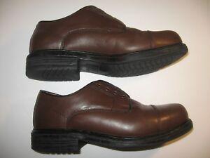 Details About Nunn Bush Brown Leather Lace Up No Laces Oxford Mens Dress Shoes Sz 9 W Wide