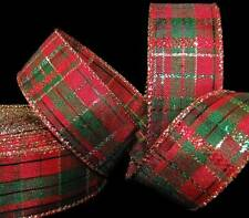 """5 Yards New Christmas Red Green Gold Plaid Wired Ribbon 1 1/2""""W"""