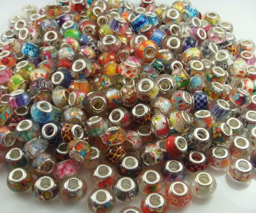Mix 50pcs Murano Charm Beads Fit À faire soi-même Européenne Bracelet De Perles En Gros