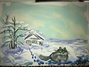 ORIGINAL-katze-MALEREI-PAINTING-zeichnung-cat-contemporary-ART-NAIV-BILD-A4-LAND