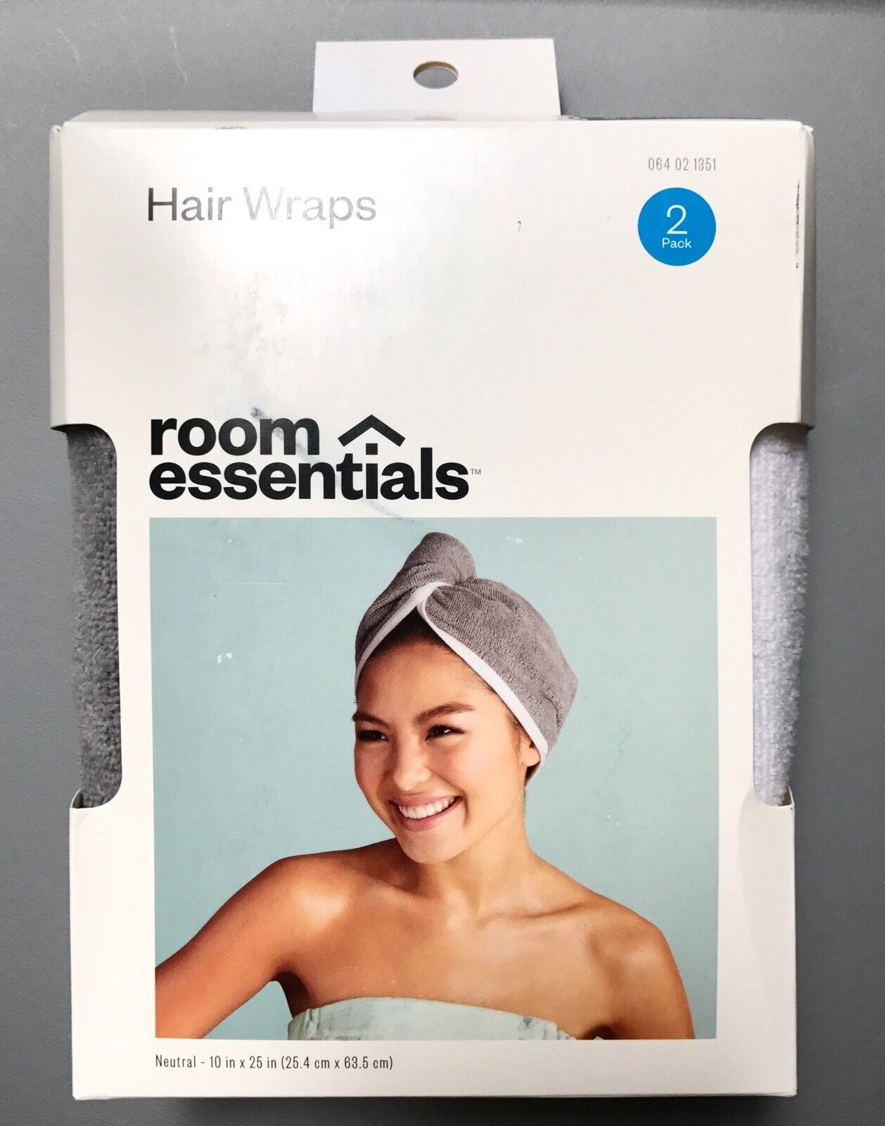 Hair Wraps 2 Pack Gray White After Shower Bath Pool Target Swimming Towel NEW