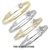 Solid 9ct Gold Childrens Baby Christening Expanding Bangle Free Engraving
