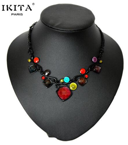 Luxus Statement Halskette IKITA Paris Kette Schwarz Metall Emaille Glas Strass