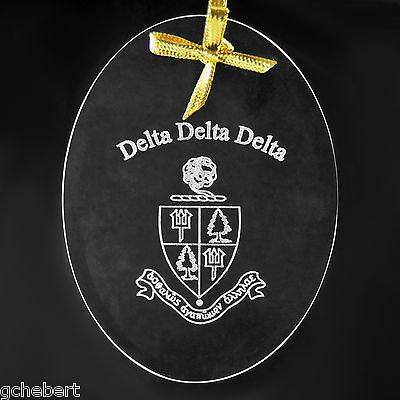 Tri Delta Sorority, ΔΔΔ, Crystal Beveled Oval Name & Crest  Ornament/Sun Catcher