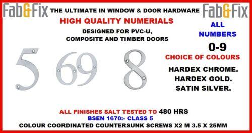 Numéro de porte, numerials pour PVC porte, composite, bois chrome, satin, Gold 80mm