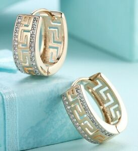 ITALY-18K-Gold-Plated-Greek-Earrings-Huggie-Earring-with-Gift-Box