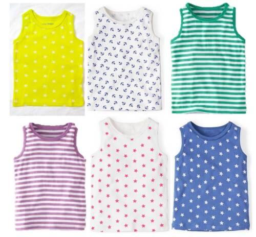 Mini Boden girls cotton jersey print summer vest tank top picot trim age 1 - 12