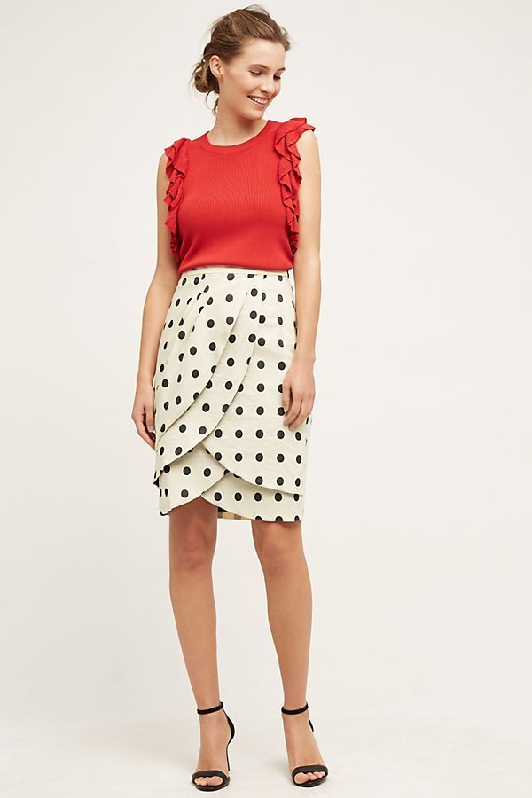 NEW Anthropologie Eva Franco Polka Dot Pencil Skirt size 12 petite MSRP   148