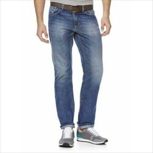 MENS STRAIGHT LEG JEANS MID BLUE DENIM JEANS TROUSERS STRETCH /& BELT  38W 34L