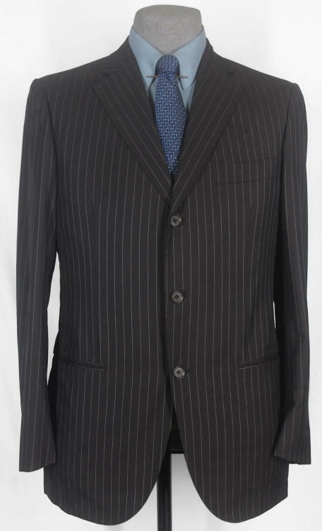 NWT_GIANLUCA ISAIA_HAND_MADE_SILK-WOOL ULTRA DARK CHOCOLATE PIN SUIT 40R 12180